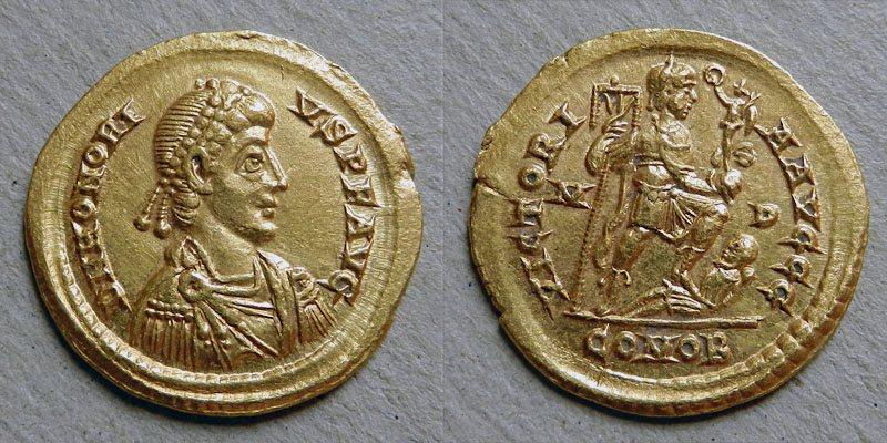 Zlatý solidus Honoria